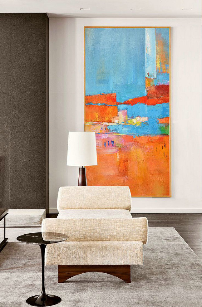 Giclee Art Prints,Abstract Painting Extra Large Canvas Art,Horizontal Palette Knife Contemporary Art,Large Abstract Art Handmade Acrylic Painting,Orange,Sky Blue,White,Red.etc