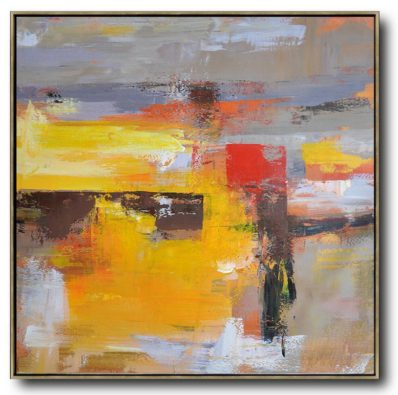 Abstract Artwork Prints,Large Modern Abstract Painting,Oversized Palette Knife Painting Contemporary Art On Canvas,Custom Canvas Wall Art,Yellow,Grey,Brown,Red,Taupe.etc