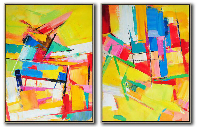 Abstract Wall Decor,Original Extra Large Wall Art,Set Of 2 Contemporary Art On Canvas,Large Oil Canvas Art,Yellow,Red,Blue,Green,Purple.etc