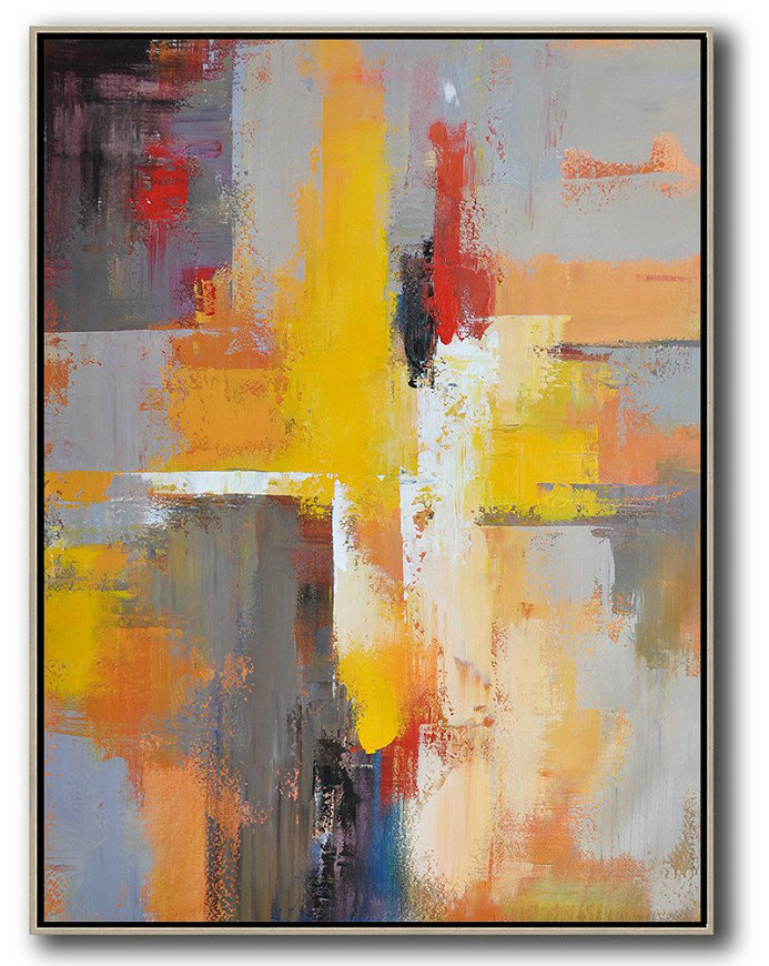 Giclee Art Prints,Handmade Acrylic Painting,Vertical Palette Knife Contemporary Art,Hand Paint Large Clean Modern Art,Yellow,Red,White,Violet Ash.etc