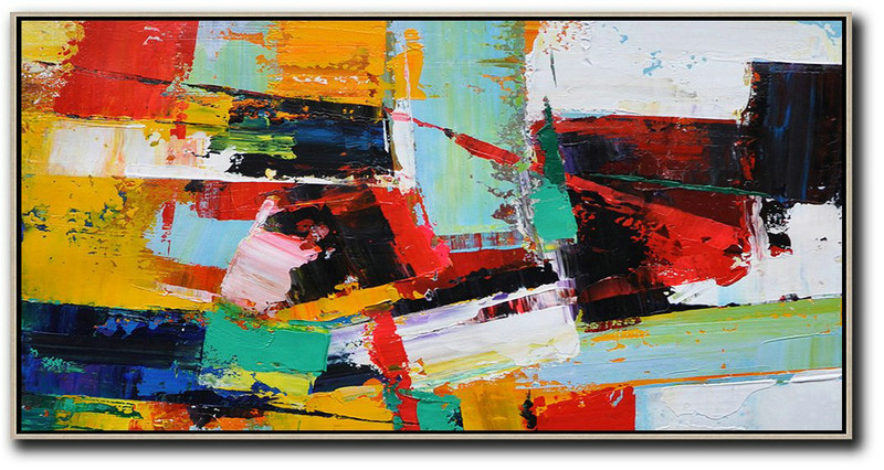 Still Life Art,Original Artwork Extra Large Abstract Painting,Horizontal Palette Knife Contemporary Art Panoramic Canvas Painting,Large Abstract Wall Art,White,Yellow,Red,Black.etc