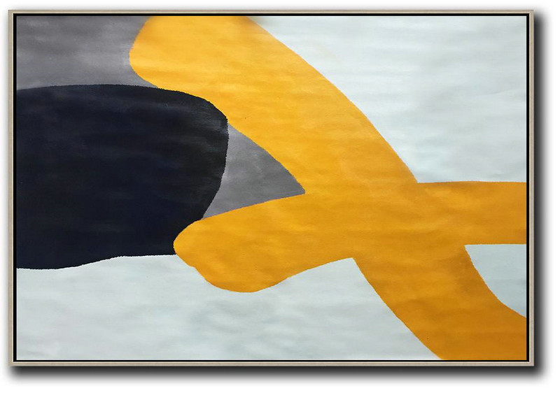 Contemporary Art,Abstract Artwork Online,Oversized Horizontal Contemporary Art,Extra Large Wall Art,White,Yellow,Black,Grey.etc