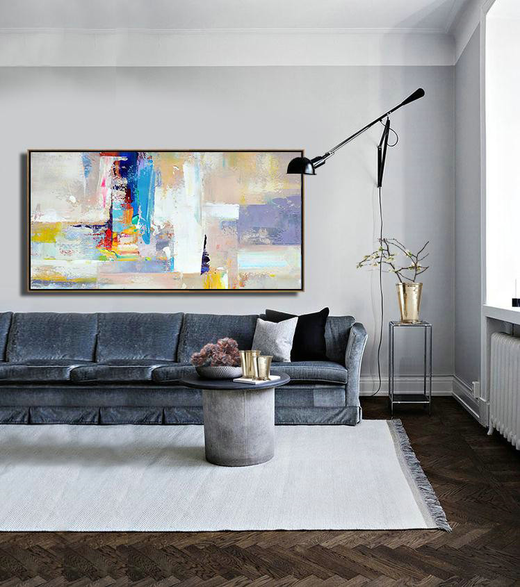 Abstract Art Pictures,Large Abstract Art Handmade Oil Painting,Horizontal Palette Knife Contemporary Art Panoramic Canvas Painting,Big Wall Art For Living Room,Grey,White,Blue,Purple.etc