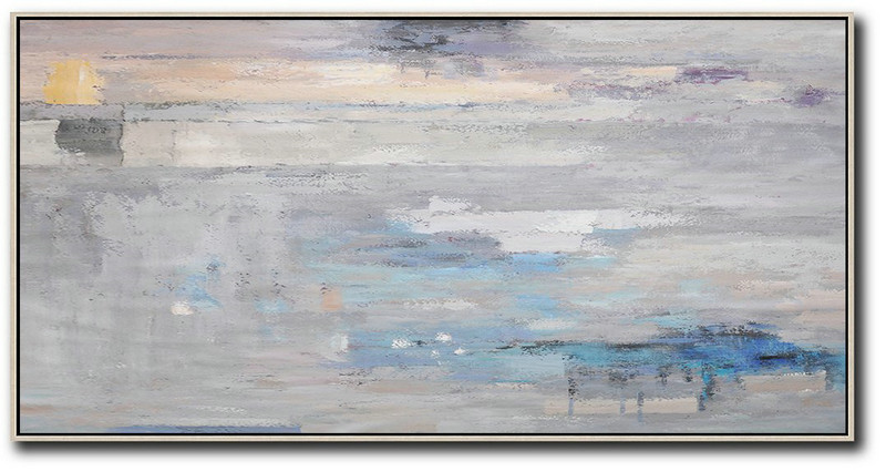 Art Gallery For Sale,Original Painting Hand Made Large Abstract Art,Horizontal Palette Knife Contemporary Art,Contemporary Artwork,Grey,Blue,White.etc