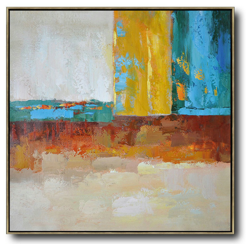 Abstract Art Oil Painting,Extra Large Abstract Painting On Canvas,Oversized Contemporary Art,Custom Oil Painting,Blue,Yellow,Orange,Dark Green.etc