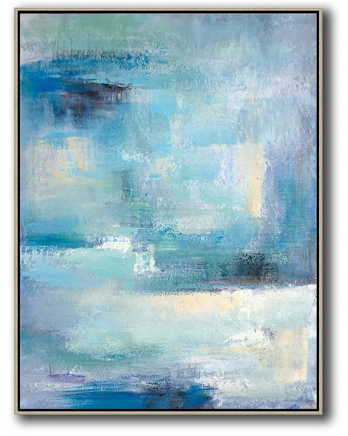 Painting Reproduction,Handmade Large Contemporary Art,Vertical Palette Knife Contemporary Art,Large Contemporary Painting,Blue,White,Grey.etc