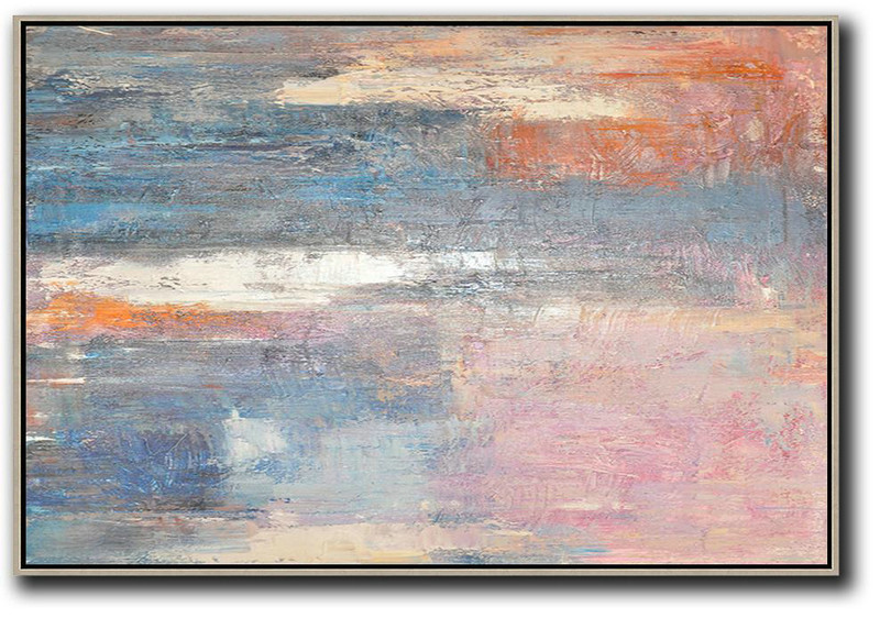 Teal Blue Abstract Art,Large Abstract Art Handmade Oil Painting,Oversized Horizontal Contemporary Art,Hand Painted Aclylic Painting On Canvas,Pink,Blue,Grey.etc