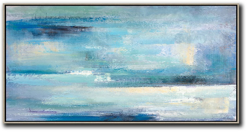 Light Blue Abstract Art,Large Abstract Art,Horizontal Palette Knife Contemporary Art,Large Canvas Art,Modern Art Abstract Painting,Lake Blue,Purple,White,Black.etc