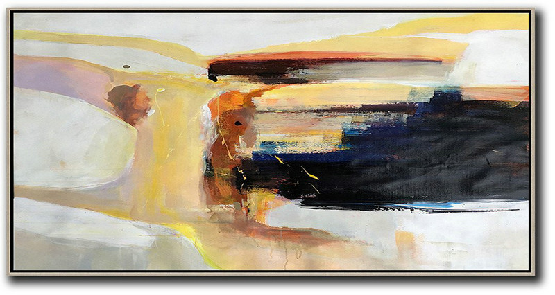 Contemporary Paintings For Sale,Extra Large Acrylic Painting On Canvas,Horizontal Palette Knife Contemporary Art Panoramic Canvas Painting,Original Art Acrylic Painting,Grey,Yellow,Black,Brown.etc