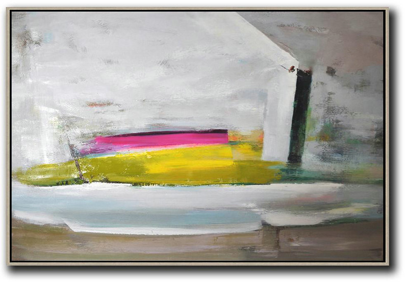 Modern Abstract Oil Painting,Large Contemporary Art Acrylic Painting,Horizontal Palette Knife Contemporary Art,Acrylic On Canvas Abstract,Grey.Yellow,Pink.etc