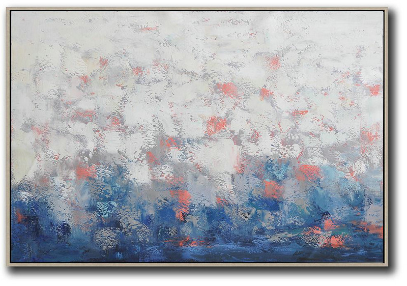 Original Artwork For Sale,Custom Oil Painting,Oversized Horizontal Contemporary Art,Large Abstract Art Handmade Acrylic Painting,White,Grey,Blue.etc