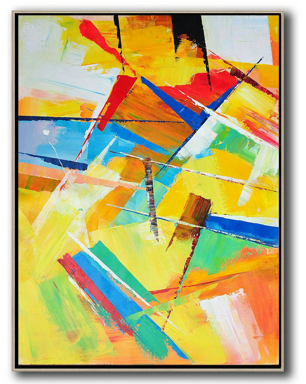 Fine Art Gallery,Hand Painted Original Art,Vertical Palette Knife Contemporary Art,Large Contemporary Painting,Yellow,Red,Blue,White.etc