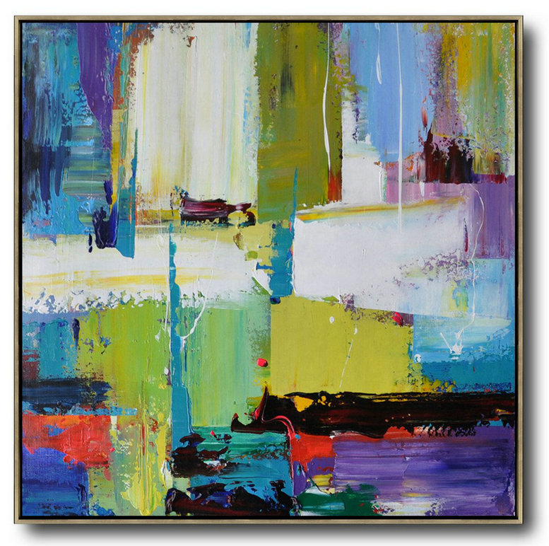Painting Reproduction,Handmade Large Contemporary Art,Oversized Palette Knife Painting Contemporary Art On Canvas,Extra Large Canvas Art,Handmade Acrylic Painting,Green,Yellow,White,Purple,Blue,Red.etc