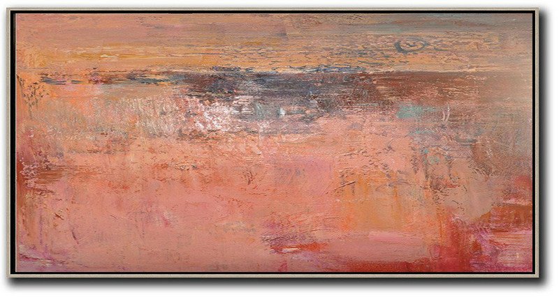 Art Auction Online,Large Abstract Art Handmade Oil Painting,Horizontal Palette Knife Contemporary Art,Big Art Canvas,Pink,Earthy Yellow,Brown,Red.etc