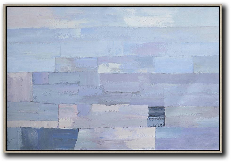 Abstract Landscape Art,Big Living Room Decor,Oversized Horizontal Contemporary Art,Canvas Wall Art,Sky Blue,Purple,White.etc