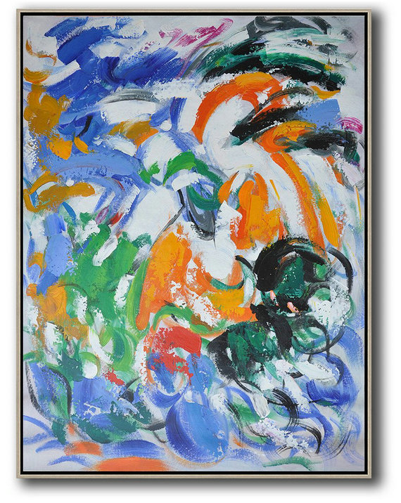 Abstract Art Prices,Large Wall Art Canvas,Vertical Palette Knife Contemporary Art,Modern Wall Art,Blue,White,Orange,Green.etc