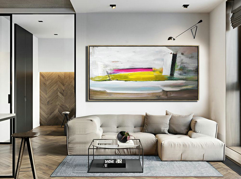 Abstract Gallery,Hand Made Abstract Art,Horizontal Palette Knife Contemporary Art Panoramic Canvas Painting,Contemporary Art Acrylic Painting,White,Brown,Yellow,Pink.etc