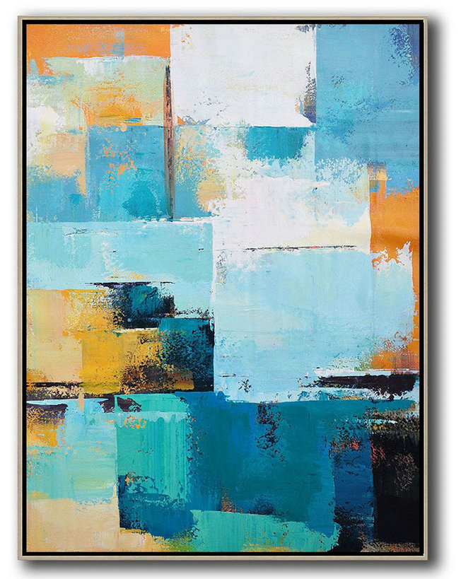Cheap Original Art,Large Contemporary Art Canvas Painting,Vertical Palette Knife Contemporary Art,Custom Canvas Wall Art,White,Blue,Orange,Yellow.etc