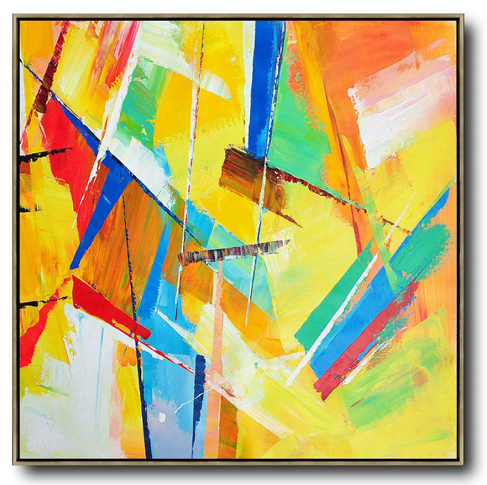 Abstract Fine Art,Original Artwork Extra Large Abstract Painting,Oversized Palette Knife Painting Contemporary Art On Canvas,Huge Abstract Canvas Art,Yellow,Light Green,Red,Blue,Pink.etc
