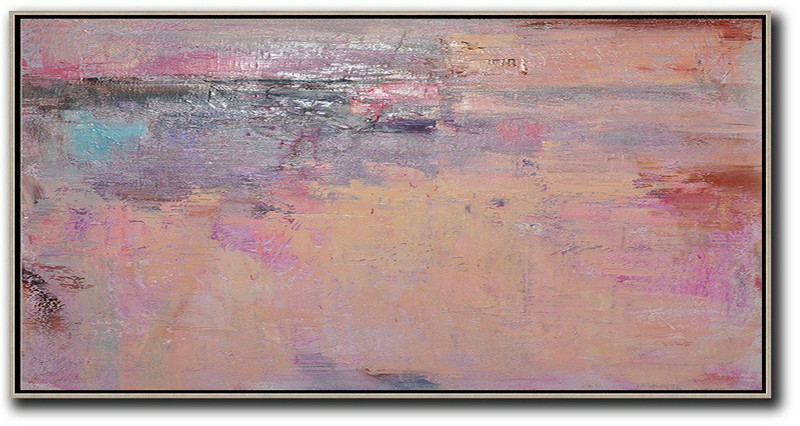 Black And Blue Abstract Art,Large Abstract Painting,Horizontal Palette Knife Contemporary Art,Large Paintings For Living Room,Light Yellow,Purple,Pink,Brown.etc