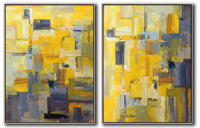 Modern Abstract,Large Abstract Art,Set Of 2 Contemporary Art On Canvas,Living Room Wall Art,Yellow,Grey,Brown,White.etc