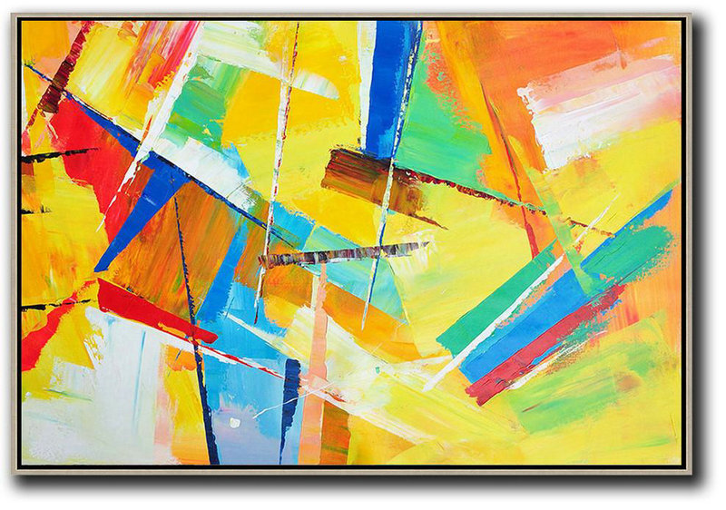 Cheap Canvas Artwork,Extra Large Acrylic Painting On Canvas,Horizontal Palette Knife Contemporary Art,Huge Abstract Canvas Art,Yellow,Red,Blue.etc