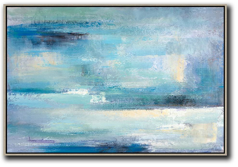 Oil Painting Shop,Large Abstract Painting Canvas Art,Oversized Horizontal Contemporary Art,Hand Made Original Art,Blue,Grey,Yellow,White.etc