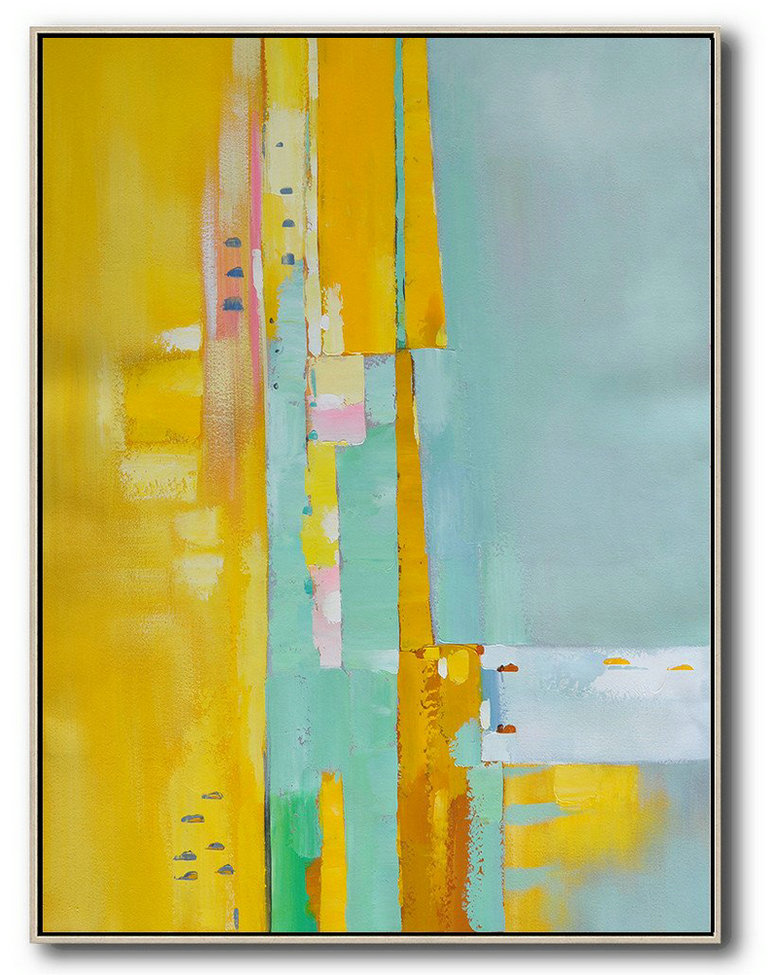 Spiritual Art,Canvas Wall Paintings,Vertical Palette Knife Contemporary Art,Large Living Room Wall Decor,Yellow,Blue,Pink.etc