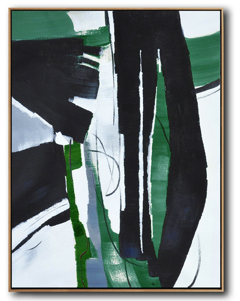 "Abstract Art Painters,Extra Large 72"" Acrylic Painting,Hand Painted Large Vertical Contemporary Painting On Canvas,Extra Large Canvas Painting,Black,Dark Green,White.etc"