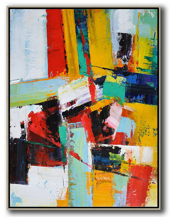 Art Oil,Xl Large Canvas Art,Vertical Palette Knife Contemporary Art,Large Oil Canvas Art,Red,Yellow,Dark Blue,White.etc