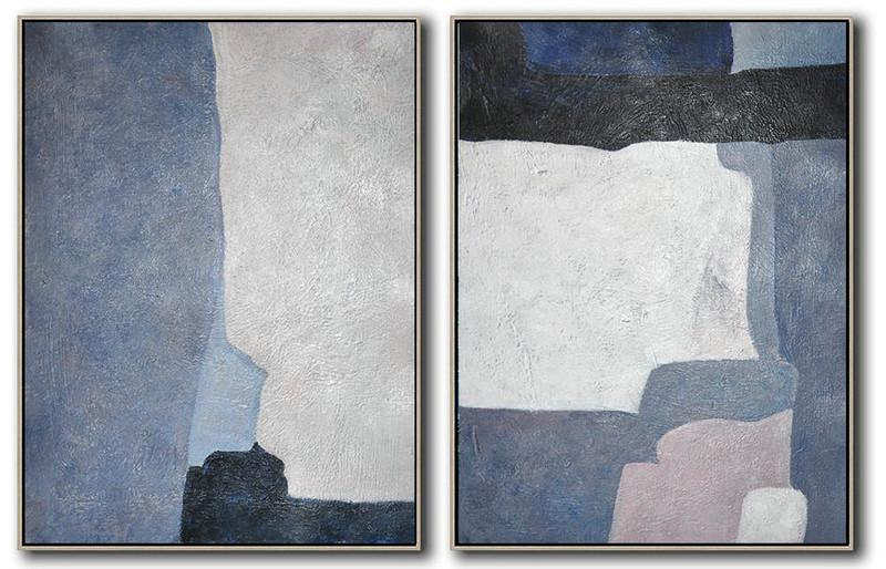 Asian Art,Extra Large Acrylic Painting On Canvas,Set Of 2 Contemporary Art On Canvas,Extra Large Paintings,White,Grey,Dark Blue,Black.etc