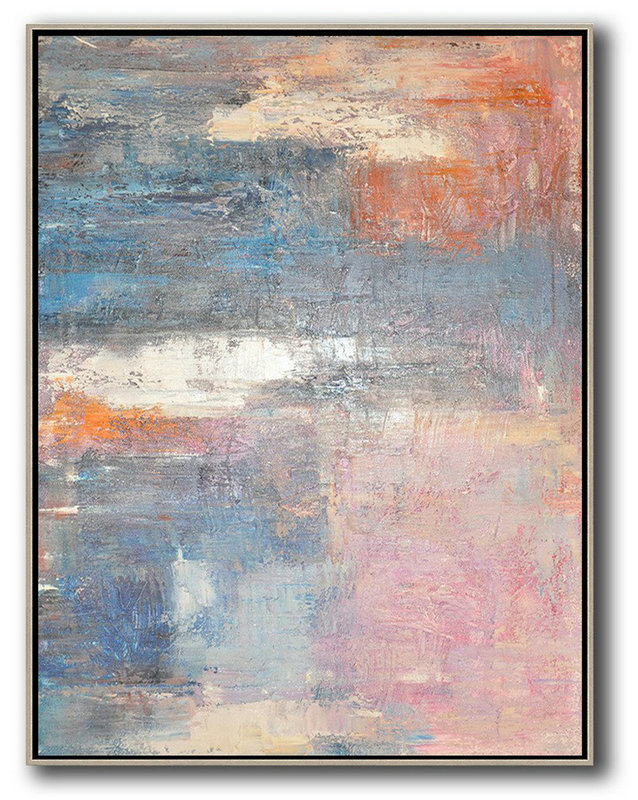 Contemporary Modern Abstract Art,Extra Large Textured Painting On Canvas,Vertical Palette Knife Contemporary Art,Large Paintings For Living Room,Pink,White,Orange,Violet Ash.etc
