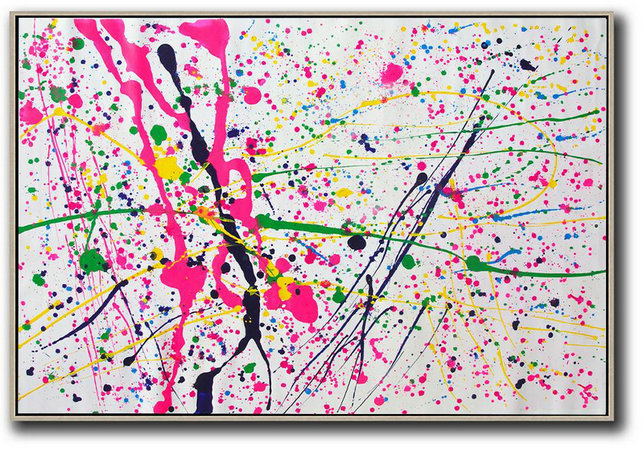 Gray Abstract Art,Contemporary Canvas Paintings,Oversized Horizontal Contemporary Art,Original Abstract Painting Canvas Art,Pink,White,Yellow,Green.etc
