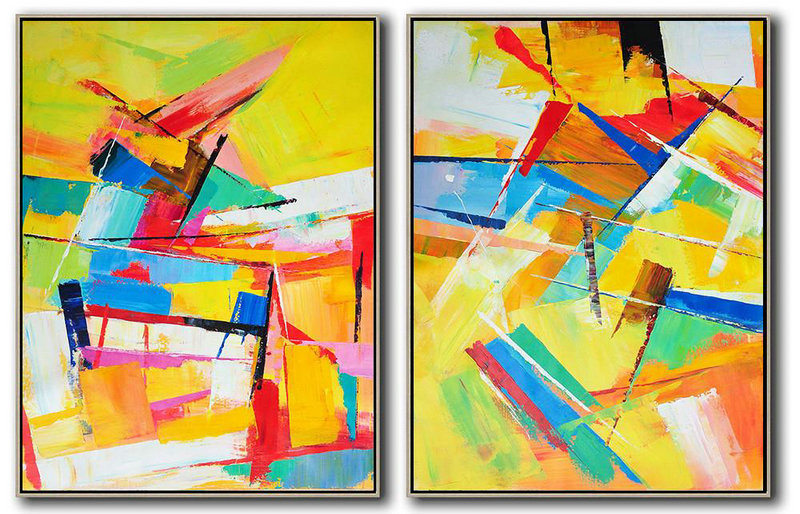 Art Images Gallery,Large Contemporary Art Acrylic Painting,Set Of 2 Contemporary Art On Canvas,Canvas Wall Paintings,White,Blue,Red,Pink.etc
