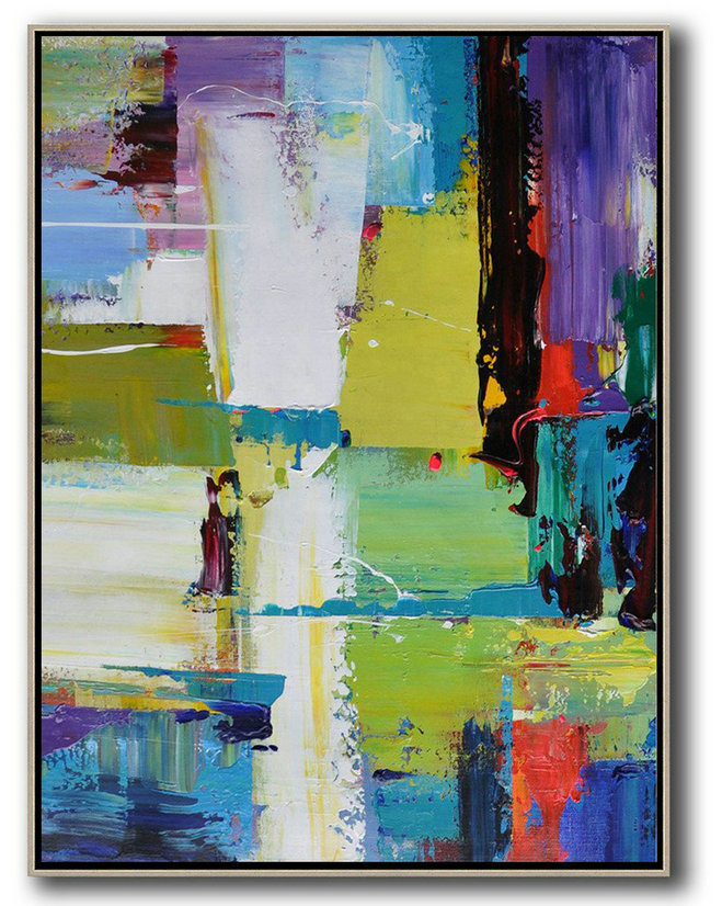Abstract The Art Of Design,Extra Large Acrylic Painting On Canvas,Vertical Palette Knife Contemporary Art,Extra Large Artwork,Purple,Yellow,Grass Green,Black,Red.etc