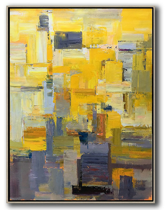 Original Art For Sale Online,Original Abstract Painting Extra Large Canvas Art,Vertical Palette Knife Contemporary Art,Large Wall Canvas,Yellow,Brown,Taupe,Purple,Beige.etc