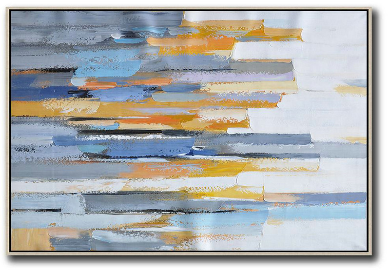 Painting Canvas Sizes,Hand Made Abstract Art,Oversized Horizontal Contemporary Art,Large Contemporary Painting,White,Grey,Blue,Yellow.etc