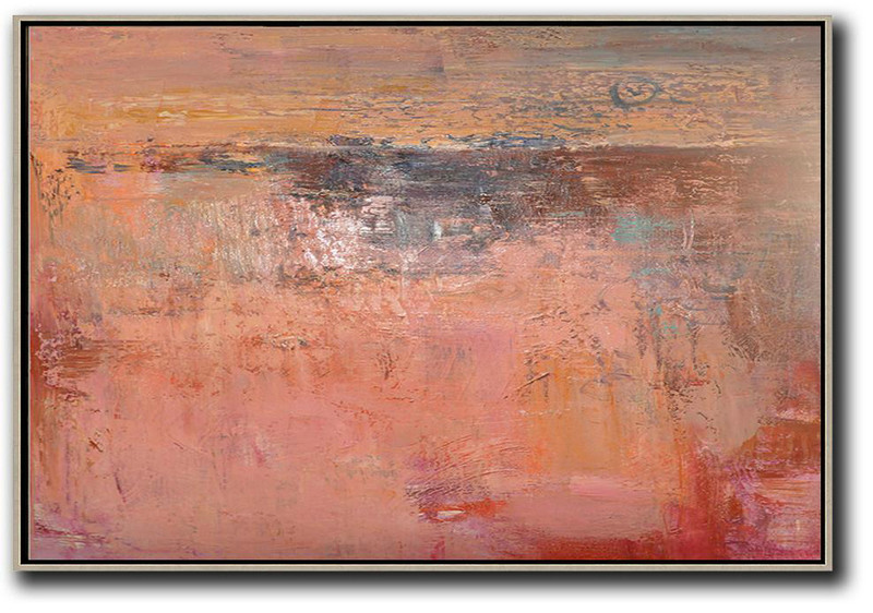 Buy Fine Art,Large Modern Abstract Painting,Oversized Horizontal Contemporary Art,Huge Abstract Canvas Art,Pink,Nude,Brown,Red.etc