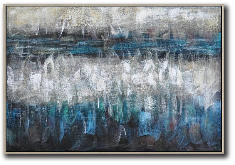 Blue And Yellow Abstract Art,Large Abstract Painting On Canvas,Oversized Horizontal Contemporary Art,Abstract Painting Modern Art,Blue,Grey,Black,White.etc