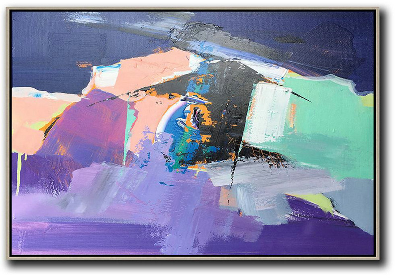 Large Canvas Pictures,Extra Large Canvas Art,Horizontal Palette Knife Contemporary Art,Abstract Painting For Home,Pink,Purple,Black.etc