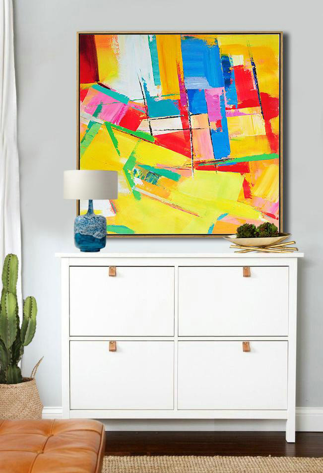 Yellow Abstract Painting,Extra Large Acrylic Painting On Canvas,Oversized Palette Knife Painting Contemporary Art On Canvas,Big Painting,Yellow,Red,Blue,Pink,Light Green.etc