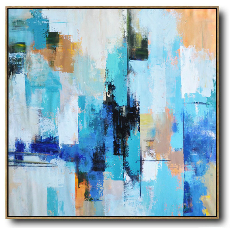 Abstract Landscape Painting,Original Abstract Painting Extra Large Canvas Art,Palette Knife Contemporary Art Canvas Painting,Canvas Painting Wall Decor,Sky Blue,Yellow,White,Blue.etc