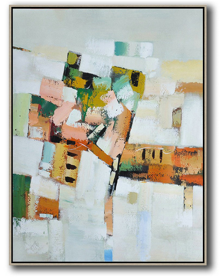 Abstract Expressionism Art,Abstract Oil Painting,Vertical Palette Knife Contemporary Art,Original Art Acrylic Painting,Grey,White,Yellow,Orange,Pink.etc