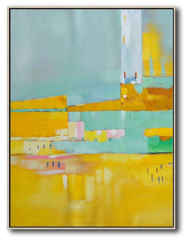 Paint For Canvas Art,Living Room Canvas Art,Vertical Palette Knife Contemporary Art,Canvas Paintings For Sale,Blue,Yellow,Grey.etc