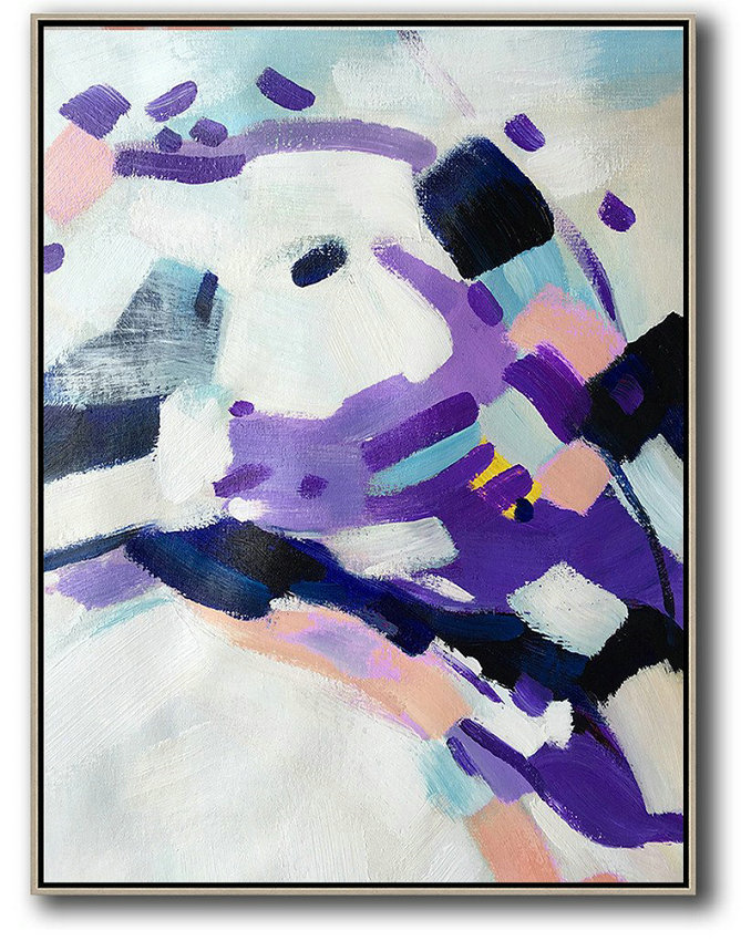 Oil On Canvas,Acrylic Painting Large Wall Art,Vertical Palette Knife Contemporary Art,Contemporary Wall Art,White,Pink,Black,Purple.etc