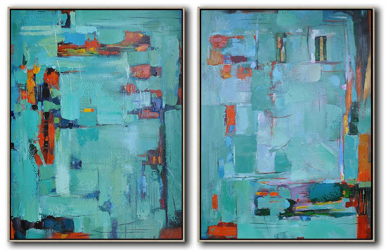 Art Of Painting,Modern Art,Set Of 2 Contemporary Art On Canvas,Abstract Art On Canvas, Modern Art,Green,Red,Orange.etc
