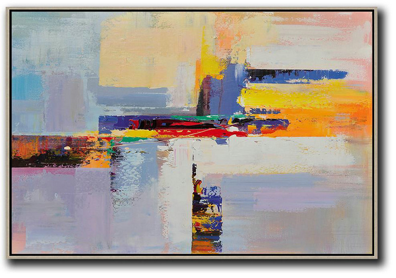 Abstract Art Oil On Canvas,Abstract Paintings On Sale,Horizontal Palette Knife Contemporary Art,Modern Art Abstract Painting,Yellow,Blue,White,Purple,Red.etc
