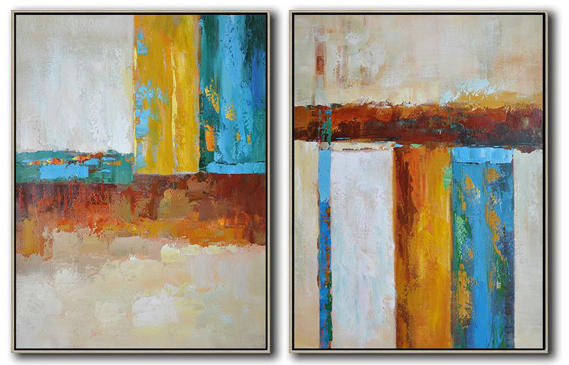 Abstract Painting Styles,Large Abstract Wall Art,Set Of 2 Contemporary Art On Canvas,Acrylic Painting Wall Art,Brown,Yellow,Blue.etc