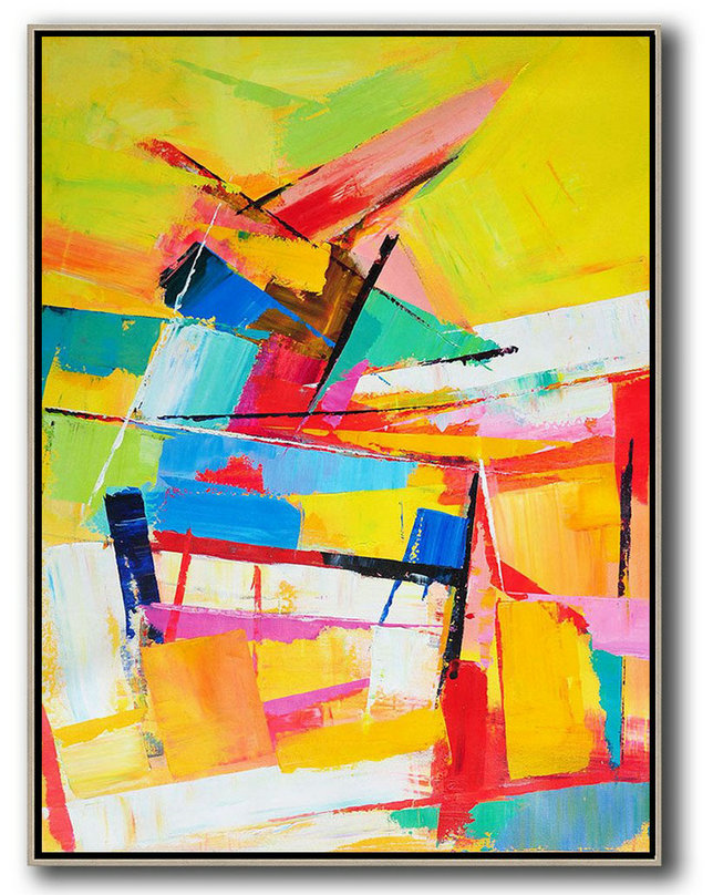 Oil Painting,Abstract Art Decor Large Canvas Painting,Vertical Palette Knife Contemporary Art,Acrylic Painting On Canvas,Yellow,Red,Blue,White.etc