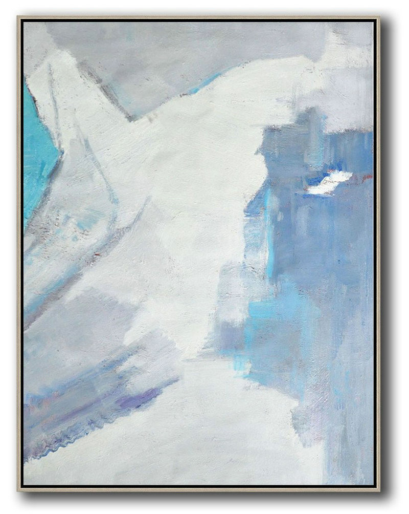 Selling Original Art,Hand Painted Abstract Art,Vertical Palette Knife Contemporary Art,Hand Painted Original Art,White,Grey,Sky Blue.etc